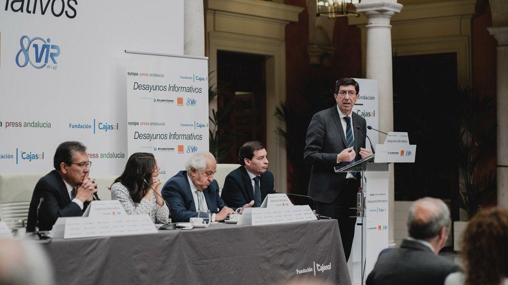 Juan Marín, Vicepresidente de la Junta de Andalucía, ha protagonizado hoy los Desayunos Informativos de Europa Press en Fundación Cajasol con Inés Arrimadas