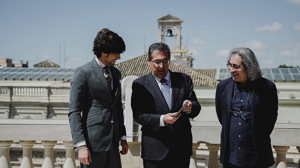Manuel Lombo, Antonio Pulido y José Miguel Évora en Cajasol