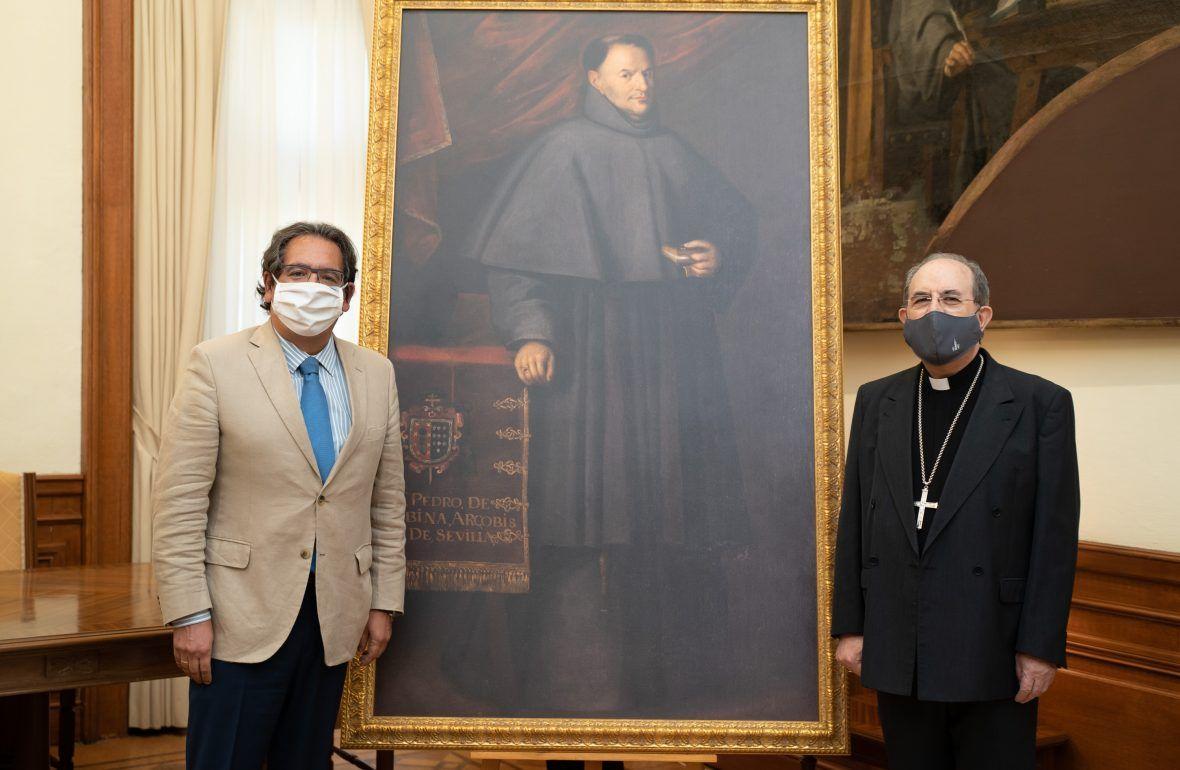 La Fundación Cajasol ha entregado hoy al Arzobispado de Sevilla una réplica del cuadro de Murillo 'Fray Pedro de Urbina'.