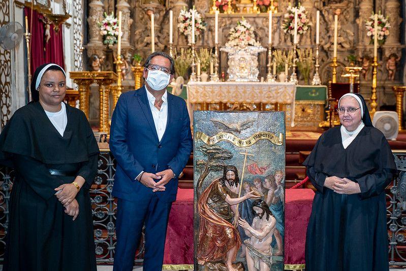 Restauración de una tabla del s. XVI en el convento de San Leandro